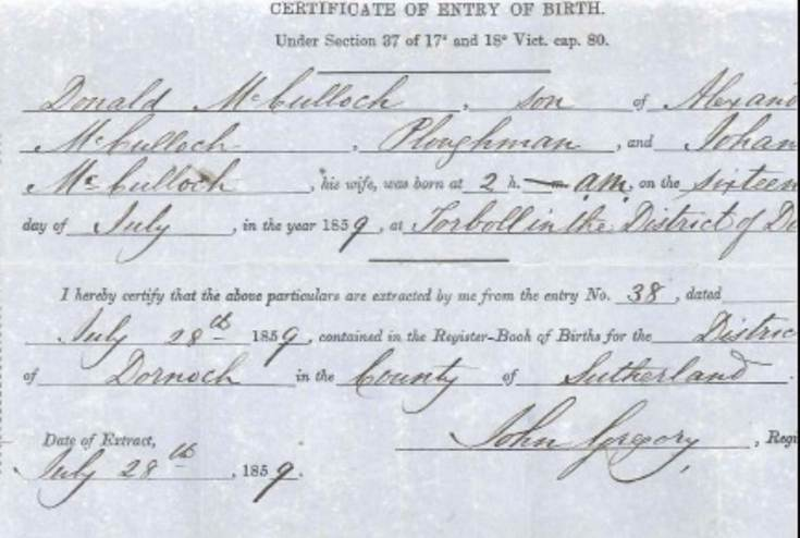 Birth Certificate Donald McCulloch 1859