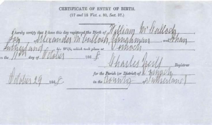 Birth Certificate William McCulloch 1868
