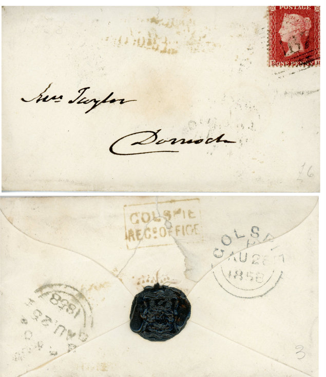 Envelope with black seal 1858