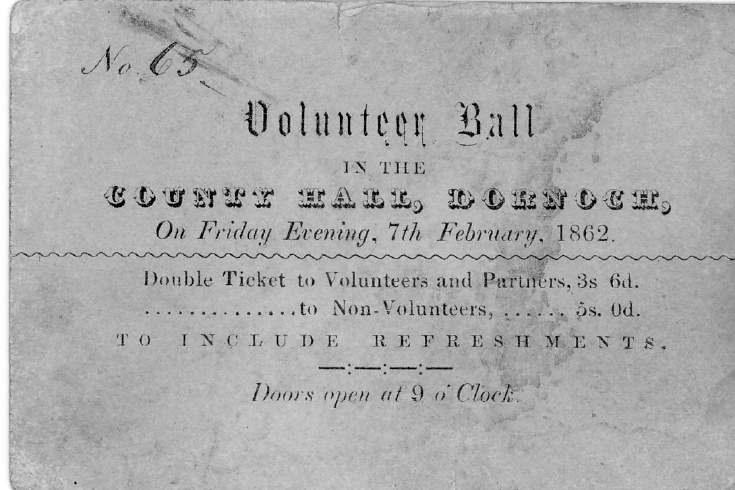 Ticket for Volunteer Ball 1862