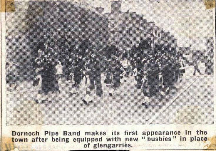 Dornoch Pipe Band parade in new head-dress