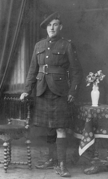 Studio photograph of a  Seaforth Highlander