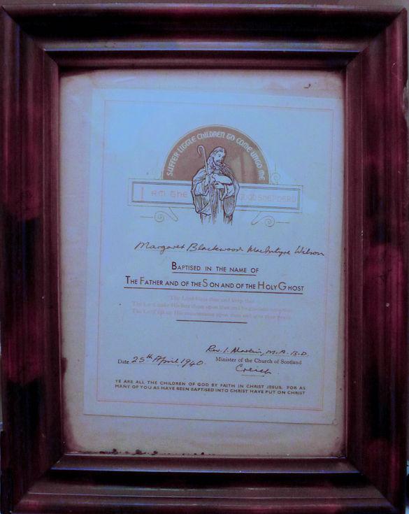 Framed Baptism Certificate