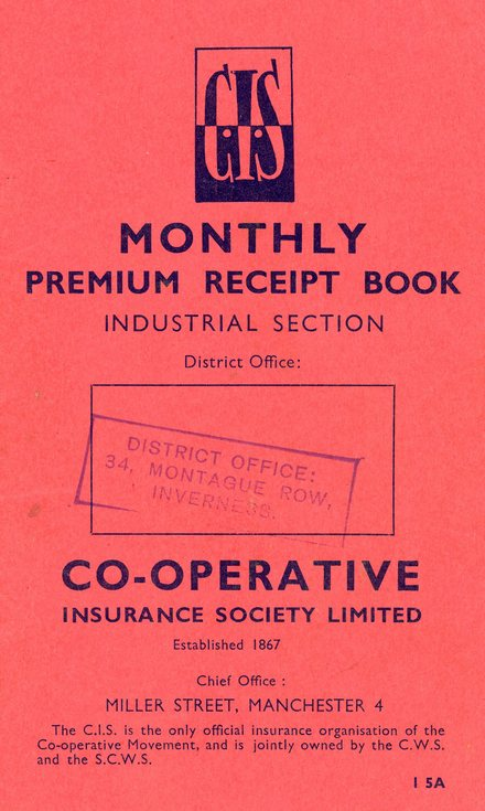 Co-operative Monthly Premium Receipt Book