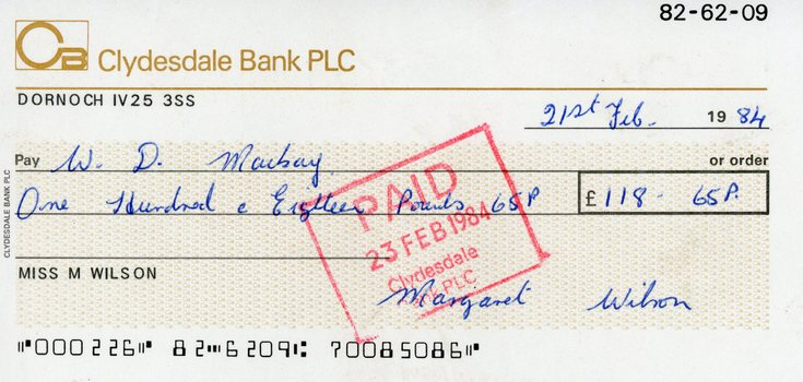 Clydesdale Bank PLC cheques