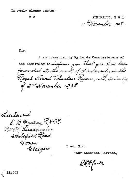 Promotion of E B Mackay to Lieutenant RNVR