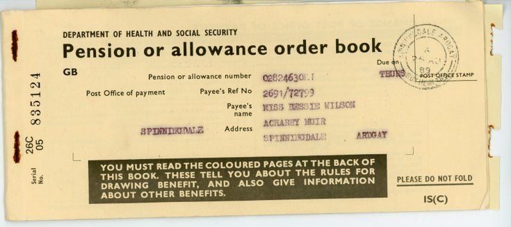 Pension or allowance order book