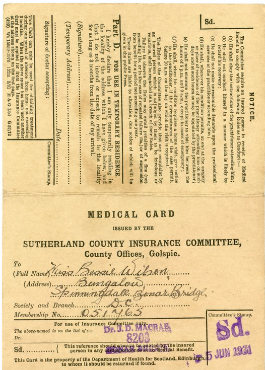 Sutherland County Insurance Committee Medical Card