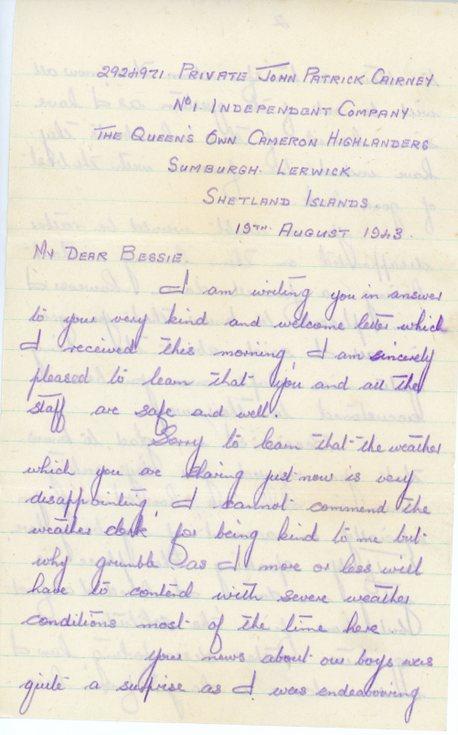 Letter to Bessie Wilson