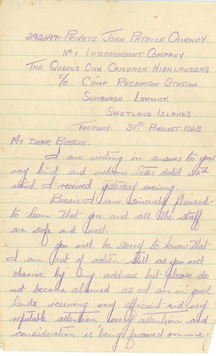 Second letter to Bessie Wilson from  John Cairney