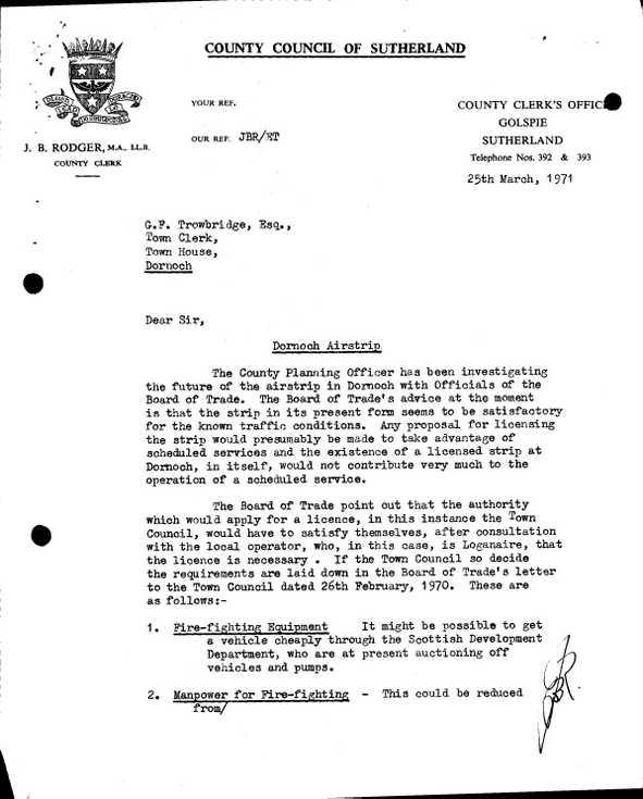 Burgh correspondence  Dornoch Airstrip 1971