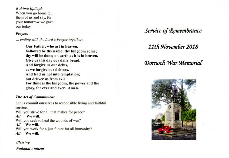 Dornoch War Memorial Service of Remembrance