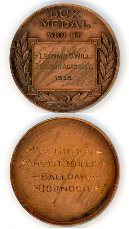 Dux medal Leonard D Will 1959