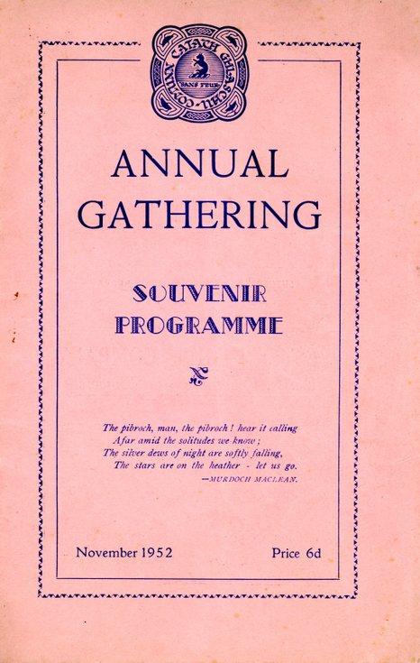 Annual Gathering Souvenir Programme 1952