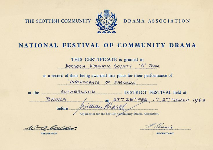 National Festival of Community Drama Certificate