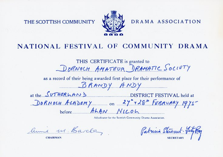 National Festival of Community Drama Certificate