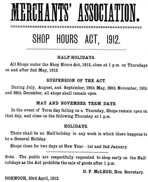 Merchants' Association Shop Hours Act 1912