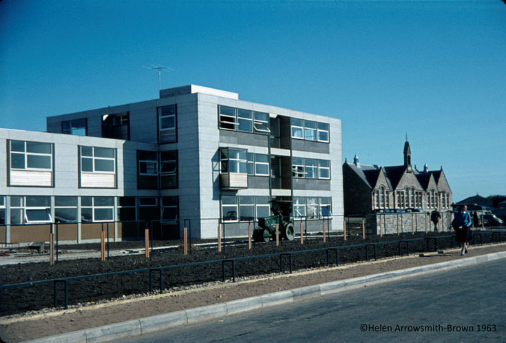 Old and New Dornoch Academy buildings 1963