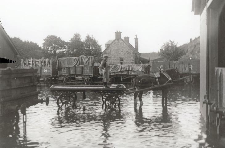 Flood at Dornoch station 1927