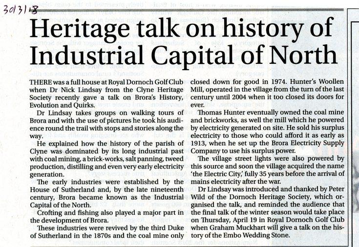 Heritage Society talk on Brora's History