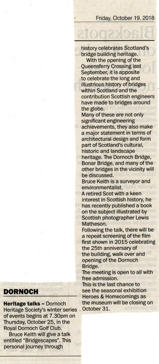 Dornoch Heritage Society talks winter series