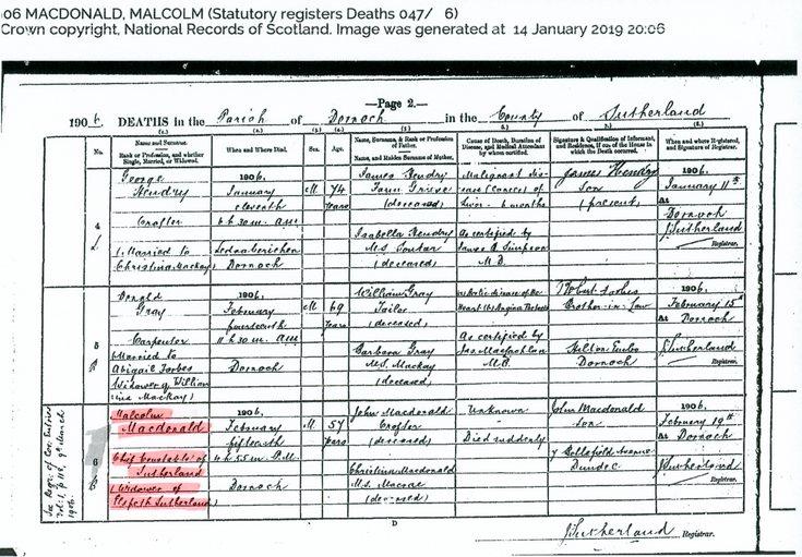 Death Record of Malcolm MacDonald