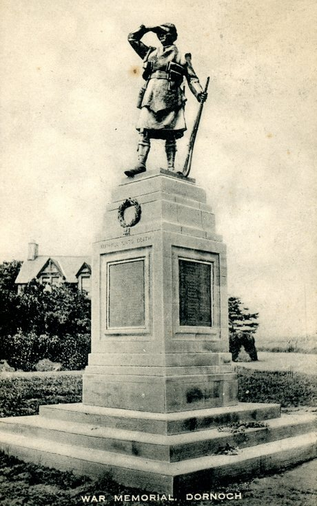 Dornoch War Memorial postcard 1922
