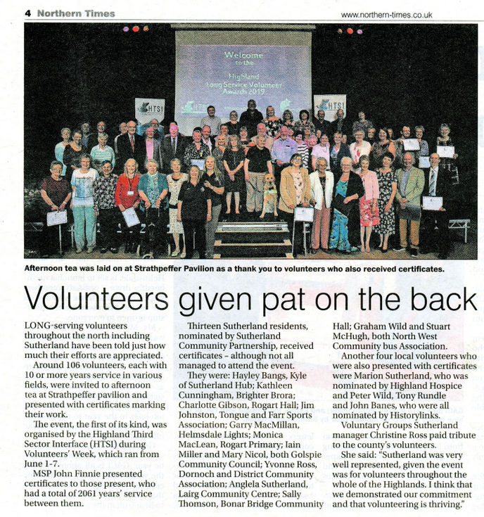 Volunteers given pat on the back