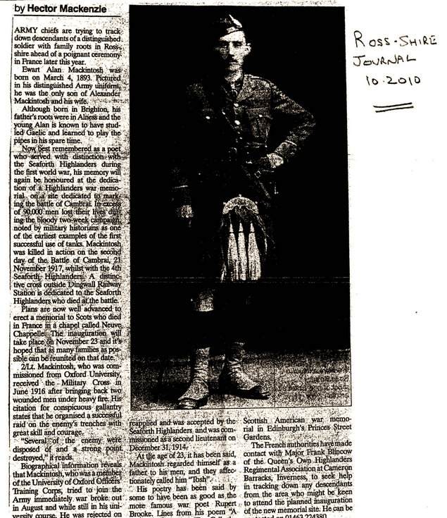 Ewart Alan Mackintosh Seaforth Highlanders