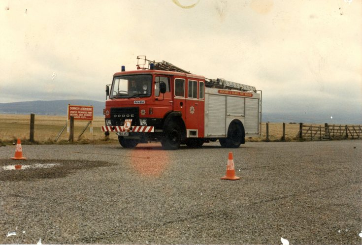 Fire engine at Dornoch Airfield late 1980's