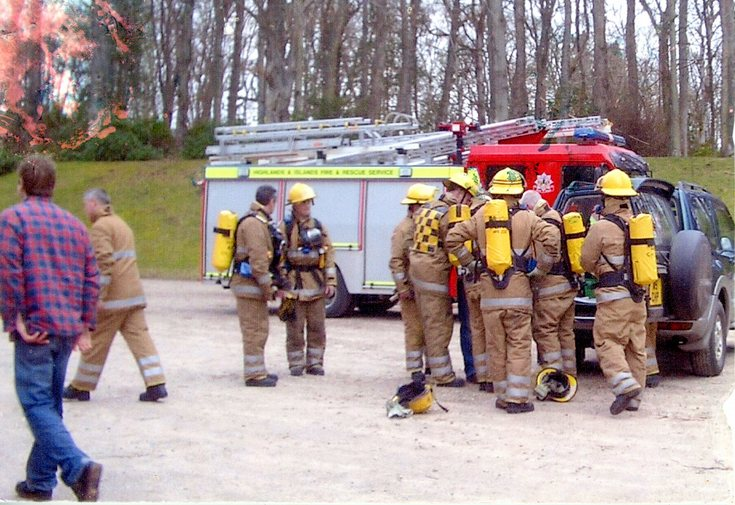 Fire Brigade training at Dunrobin Castle