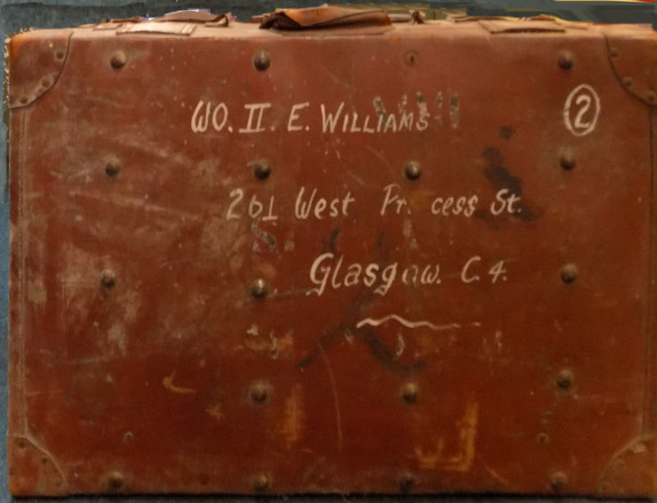 Large leather trunk belonging to W0II E Williams