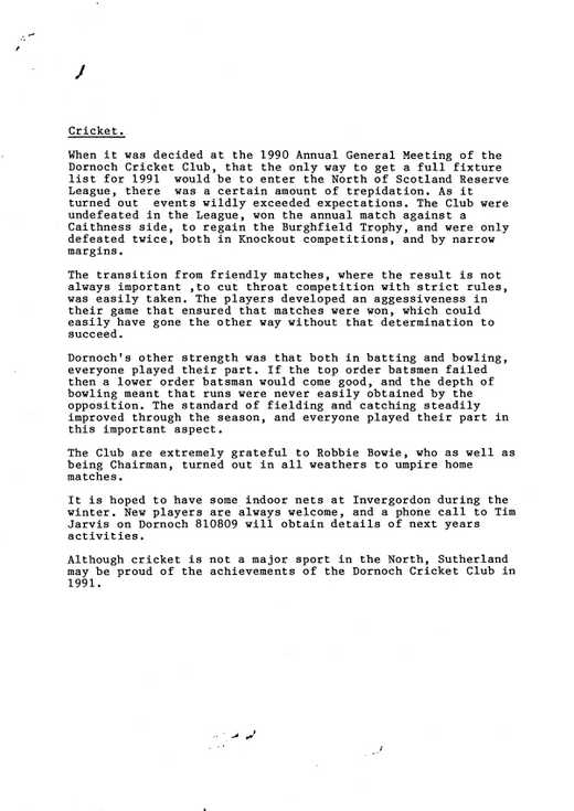 Draft of article for newspaper entitled ''Cricket'