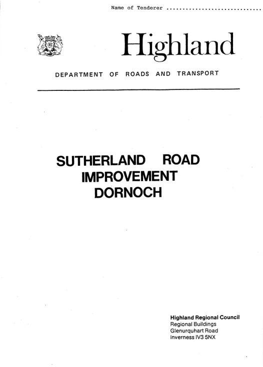 Tender Form Sutherland Road Improvement