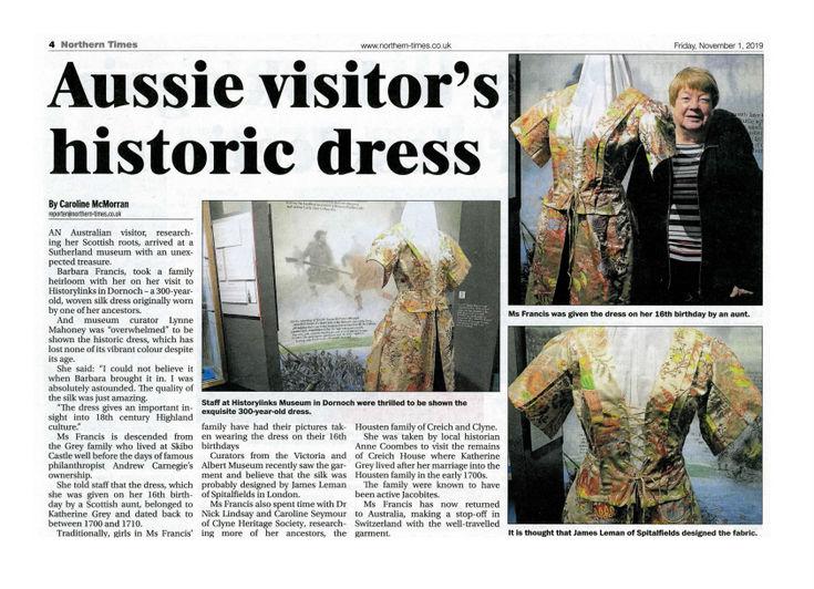 Aussie visitor's historic dress