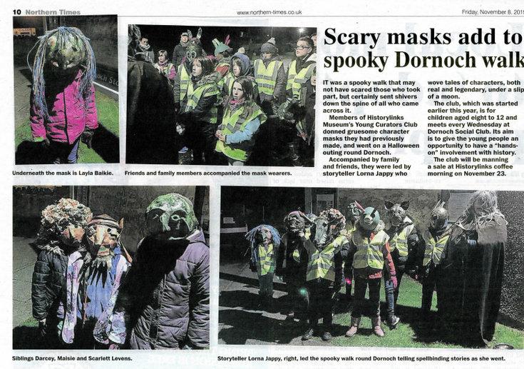 Scary masks add to spooky Dornoch walk