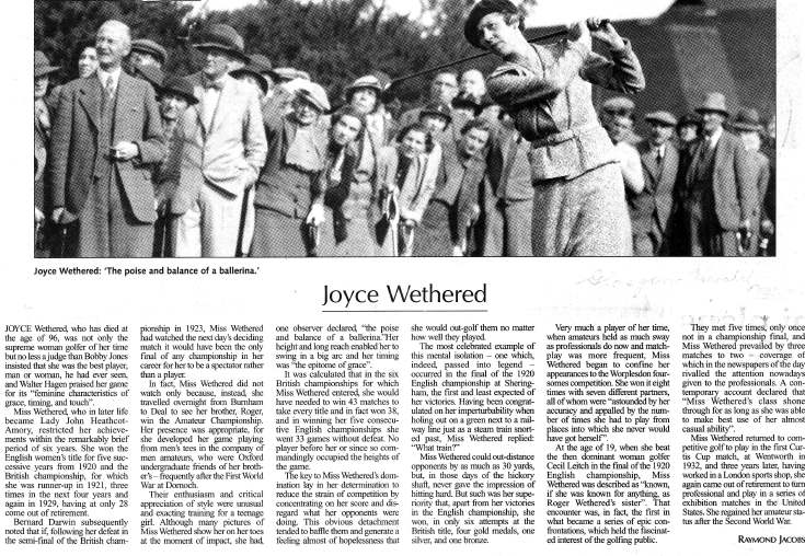 Obituary for Joyce Wethered