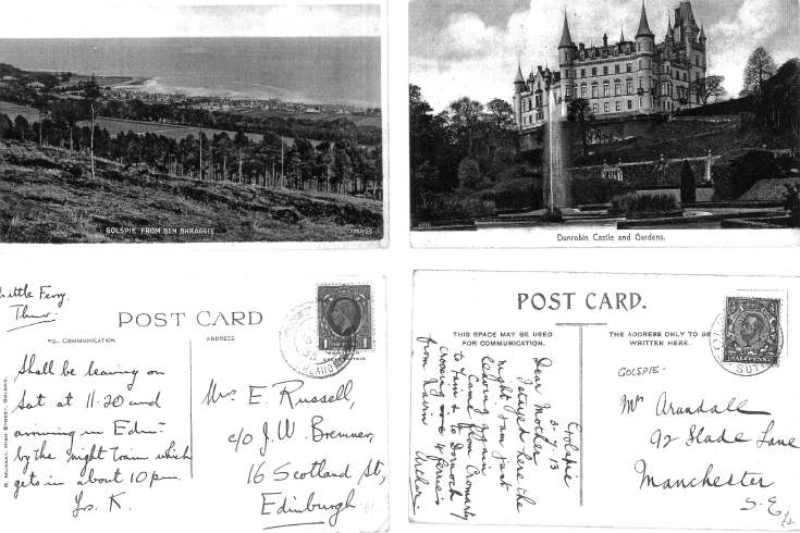 Two postcards of Golspie