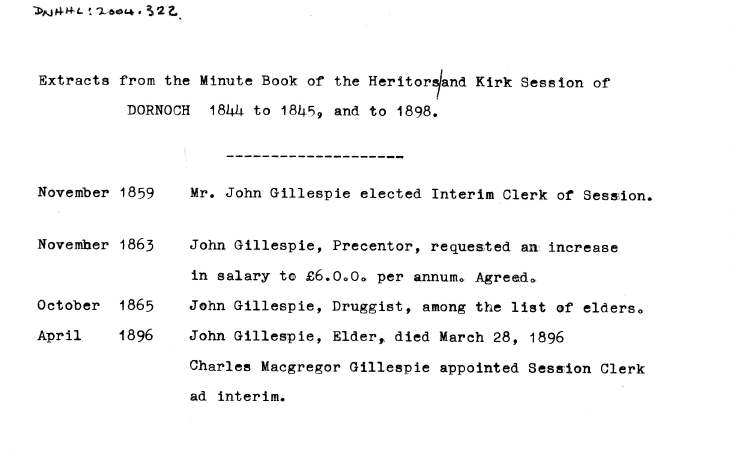 Extracts from minute book of heritors and kirk session of Dornoch, 1844-45 and 1898.