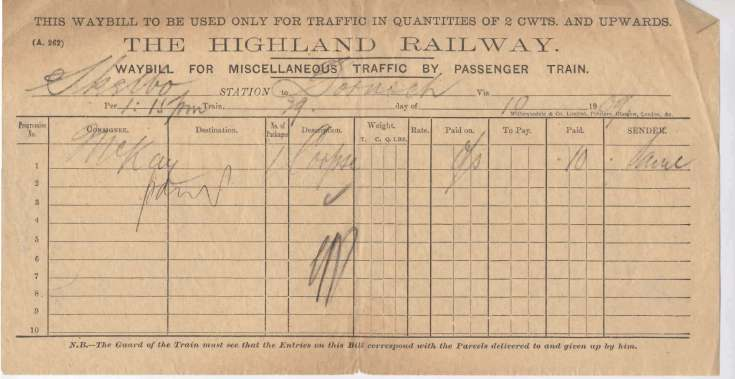 Highland railway waybill
