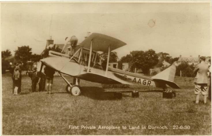 Early arrival of aeroplane in Dornoch