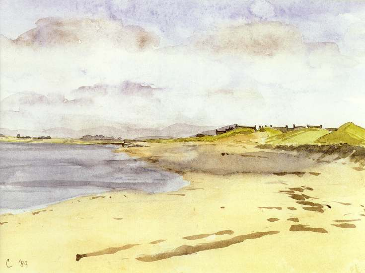 Watercolour of Embo beach, Dornoch in background