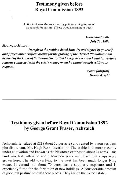 Testimony to Royal commission of 1892 and letter 1893