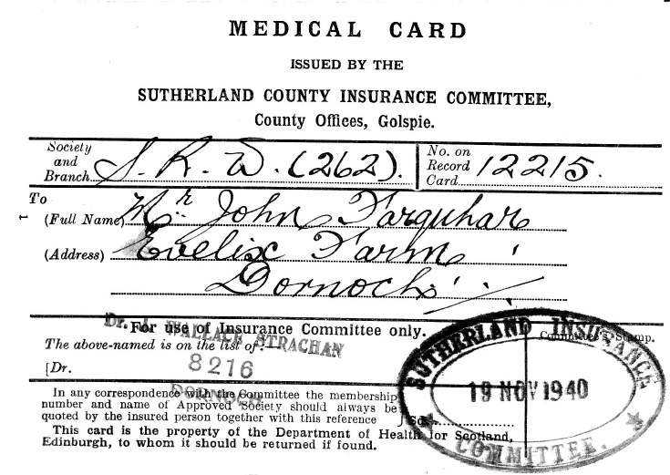 Medical card John Farquhar