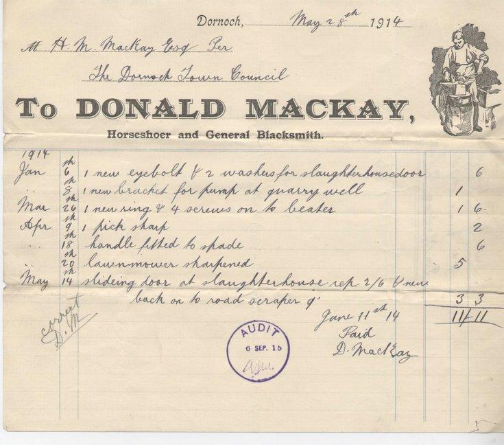 Bill for materials 1914