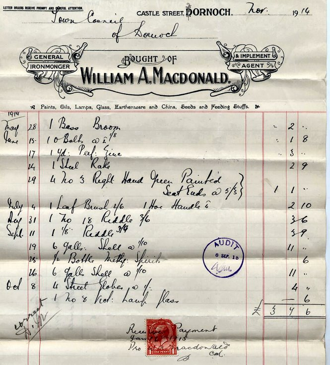 Bill for tools 1914