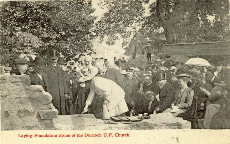 Laying the foundation stone of the Dornoch UF Church