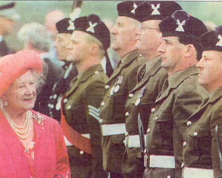 Queen Mother inspecting troops 1991