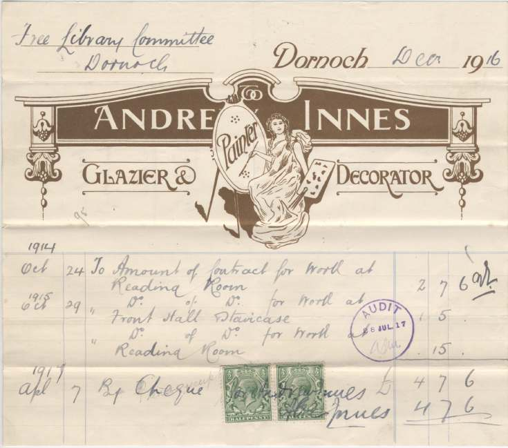 Bill for decorating 1916