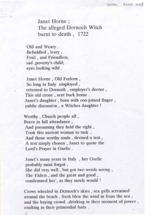 Poem about Janet Horne